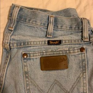 FREE PEOPLE WRANGLER DENIM HIGH WASTED SHORTS